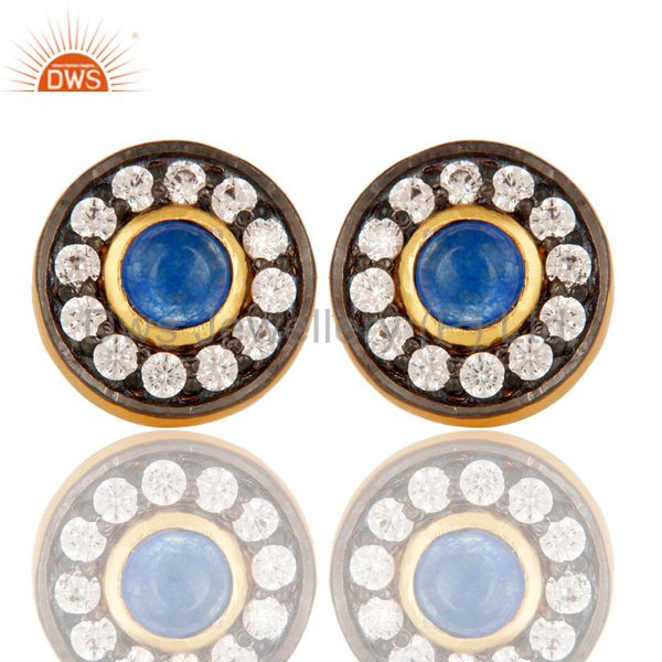 18K Yellow Gold Plated Blue Aventurine & White Zircon Halo Stud Brass Earrings