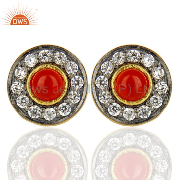 18K Yellow Gold Plated Red Onyx & White Zirconia Halo Stud Brass Earrings