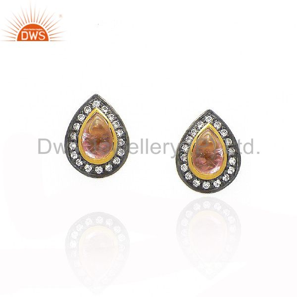 22K Yellow Gold Plated Sterling Silver Pink Tourmaline And CZ Stud Earrings