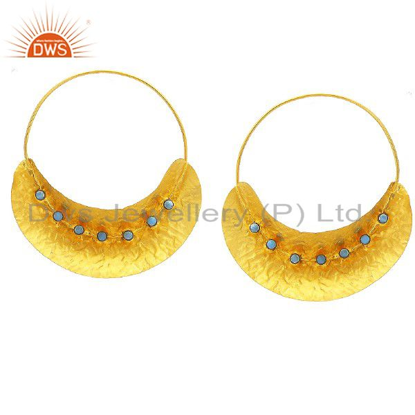 18K Yellow Gold Plated Sterling Silver Turquoise Handmade Fulani Dangle Earrings