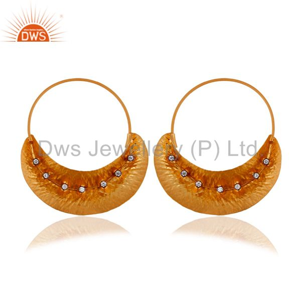 Handcrafted 925 Sterling Silver 22K Gold Plated Fulani Zircon CZ Hoop Earrings