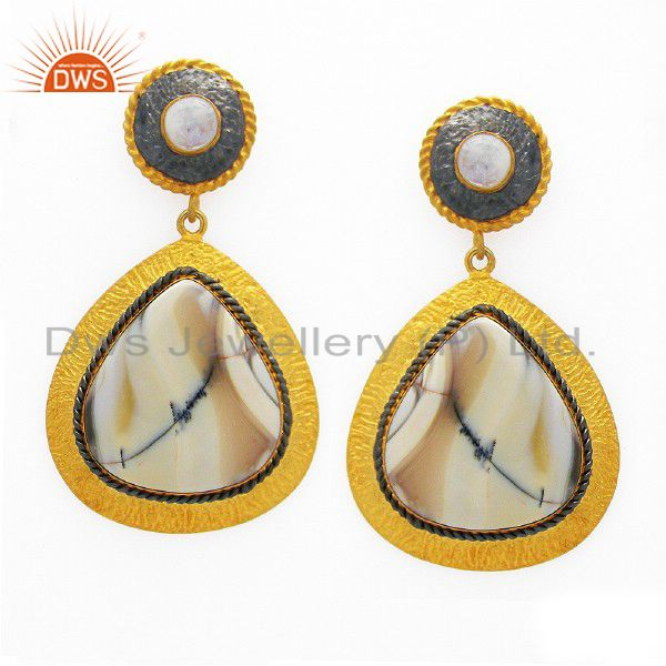 18K Yellow Gold Plated Sterling Silver White Agate And Moonstone Dangle Earrings