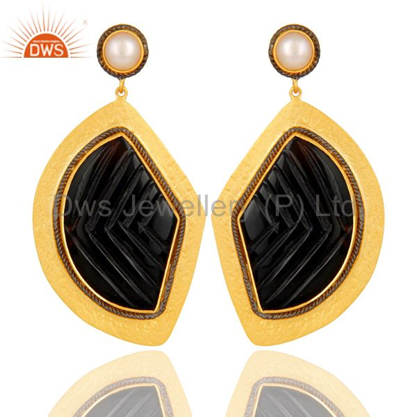 18K Yellow Gold Plated Sterling Silver Black Onyx And Pearl Dangle Earrings