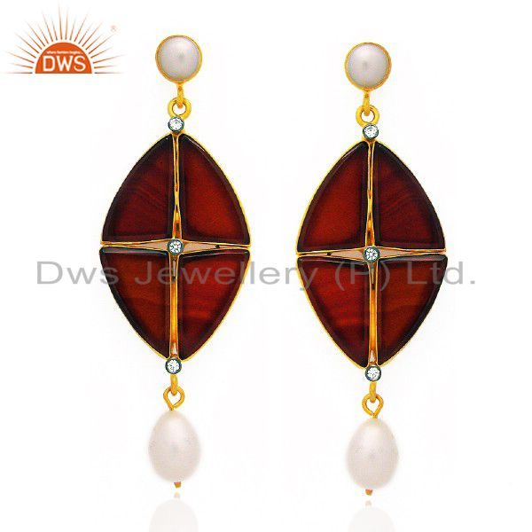 18K Yellow Gold Plated Sterling Silver Red Onyx And Pearl Dangle Earrings