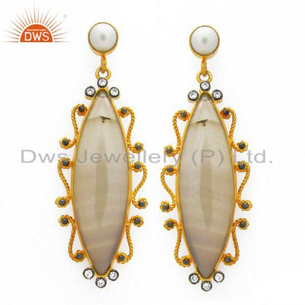 Handmade Sterling Silver White Agate, Pearl And CZ Earrings With Gold Plated