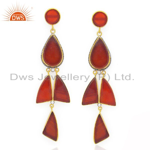 18K Yellow Gold Plated Sterling Silver Red Onyx Fashion Dangle Earrings With CZ