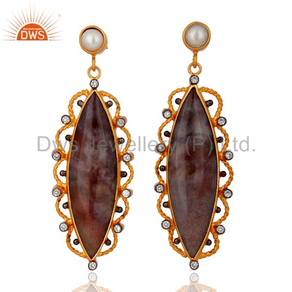 Natural Agate Gemstone Sterling Silver Pearl Earring With Gold Plated Jewellery