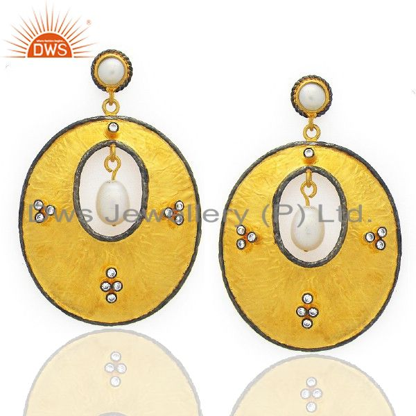 22K Yellow Gold Plated Brass White Pearl And Cubic Zirconia Dangle Earrings