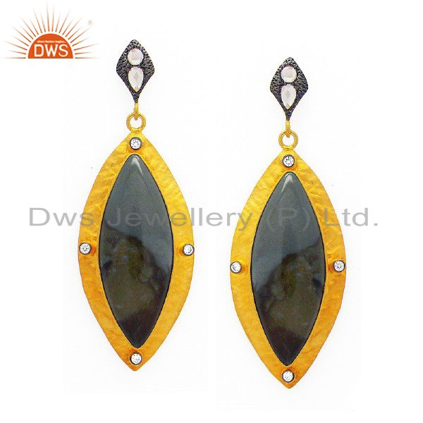 24K Yellow Gold Plated Sterling Silver Black Onyx And CZ Dangle Earrings