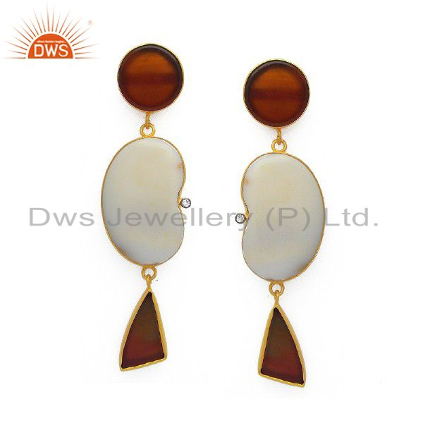Handmade White Agate And Red Onyx 18K Gold Plated Sterling Silver Dangle Earring