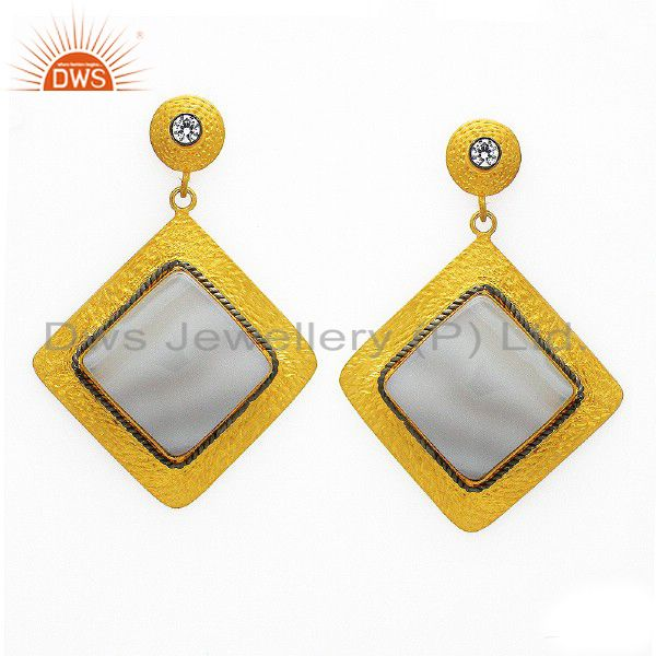 22K Yellow Gold Plated Sterling Silver White Agate And CZ Dangle Earrings