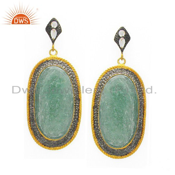 22K Yellow Gold Plated Sterling Silver White Agate Dangle Earrings With CZ