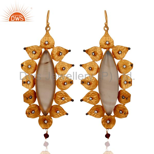 925 Sterling Silver Gold Plated Plated Agate Gemstone Dangle Earrings With CZ