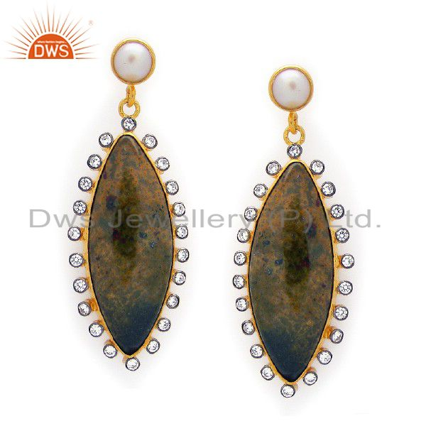 18K Gold Plated Sterling Silver White Agate And Pearl Dangle Earrings With CZ