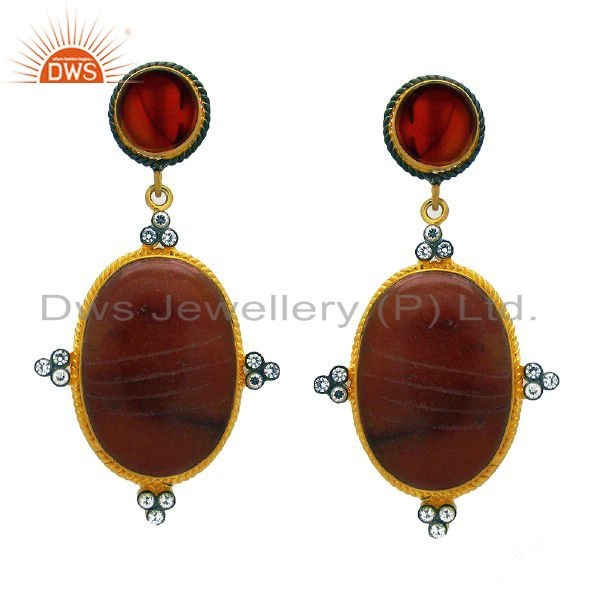 18K Gold Plated Sterling Silver Red Onyx & Jade Carving Dangle Earrings With CZ