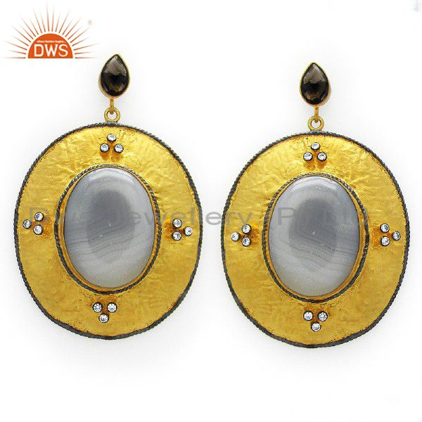 22K Gold Plated Sterling Silver White Agate And Smoky Quartz Dangle Earrings