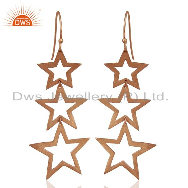 Rose Gold Plated Star Designer Dangle Earrings Jewelry Manufacturer
