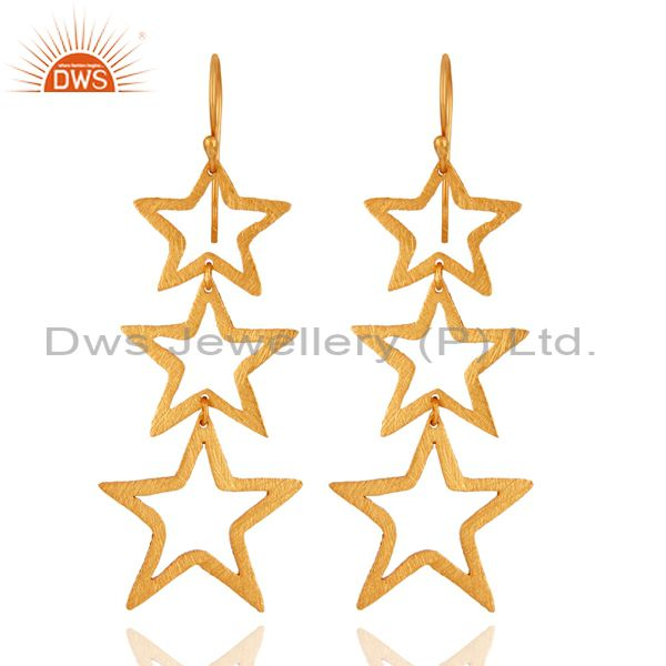 925 Sterling Silver Star Designs Handmade Dangle Earrings With 18K Gold Plated