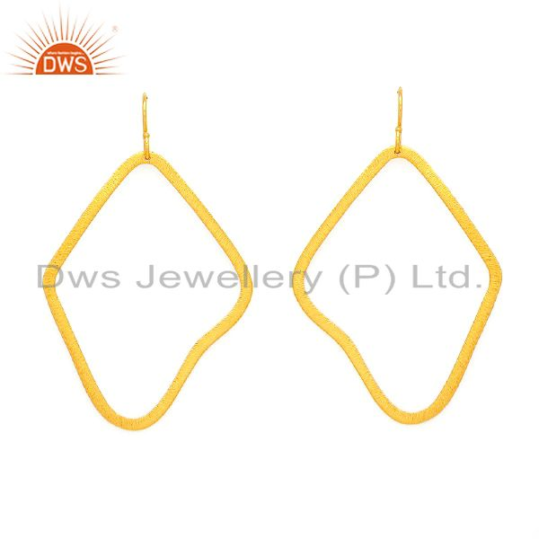 22K Yellow Gold Plated Sterling Silver Matte Finish Open Circle Dangle Earrings