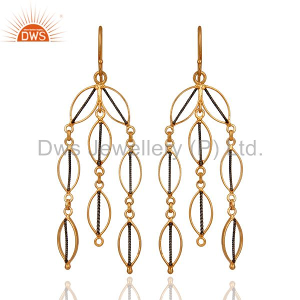 18K Gold Plated 925 Sterling Silver Handmade Designer Link Dangle Earrings
