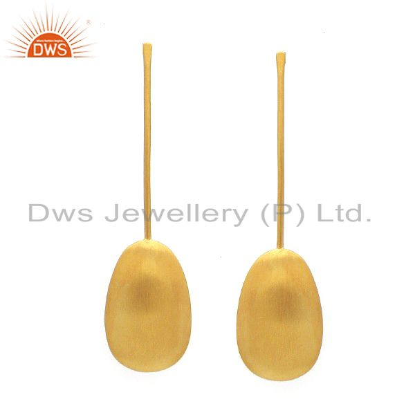 22K Yellow Gold Plated Sterling Silver Matte Finished Dangle Earrings