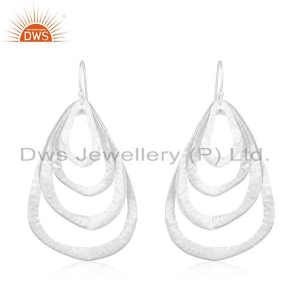 Handmade 92.5 Sterling Silver Leaf Designer Earrings Manufacturer of Jewellery