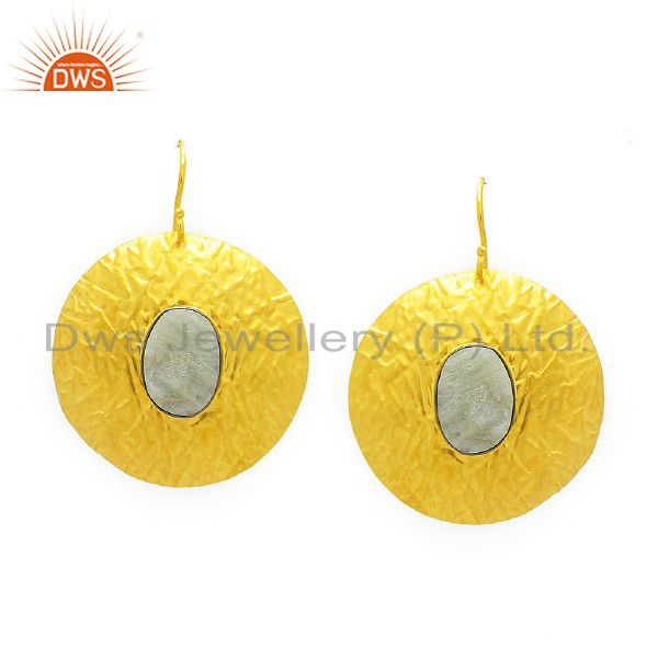 22K Gold Plated Sterling Silver Aquamarine Hammered Circle Dangle Earrings