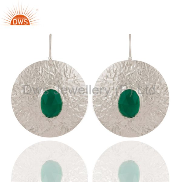 Handmade 925 Sterling Silver Natural Green Onyx Gemstone Circle Earrings