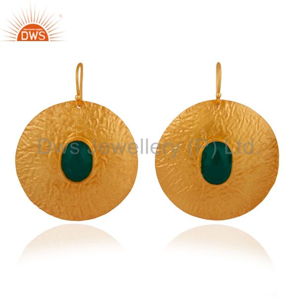 925 Sterling Silver 14k Yellow Gold Plated Green Onyx Gemstone Circle Earrings
