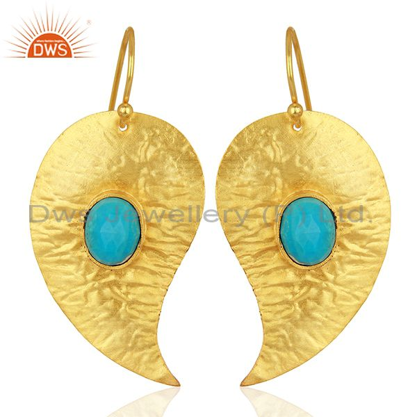 Textured Gold Plated Silver Turquoise Gemstone Earrings Manufacturer