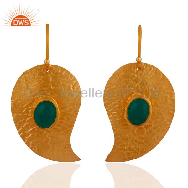 22k Gold Plated 925 Sterling Silver Green Onyx Semi Precious Stone Earrings