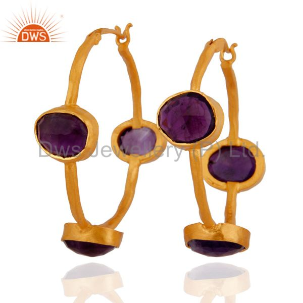 Amethyst Gemstone Hoop Earrings in Sterling Silver with 22K Gold Plated Jewelry