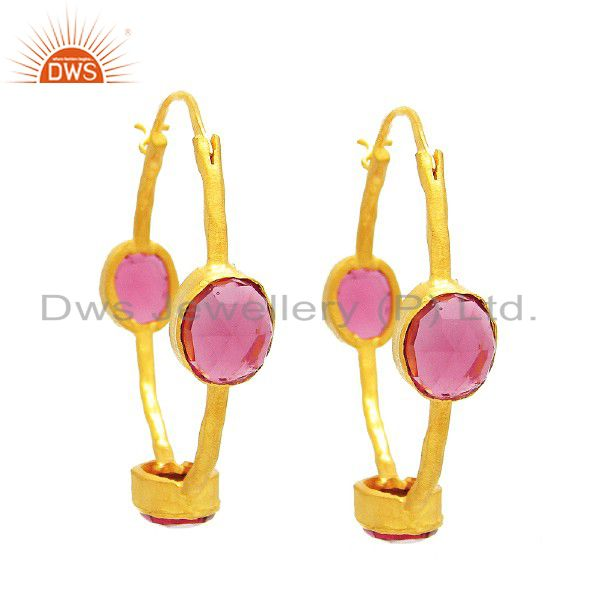 22K Yellow Gold Plated Sterling Silver Pink Glass Hoop Earrings