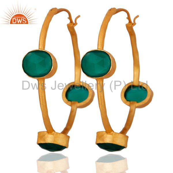 Natural Green Onyx Gemstone 18k Gold Plated 925 Sterling Silver Hoop Earrings