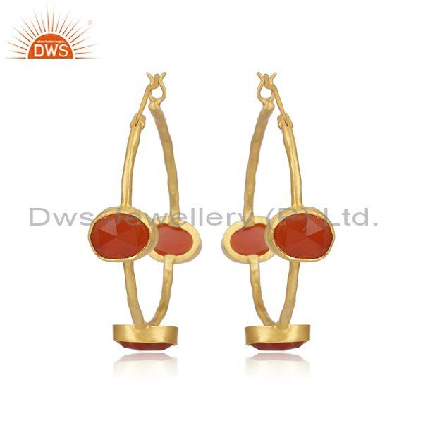 Red Onyx Set Gold On Sterling Silver Statement Hoop Earrings