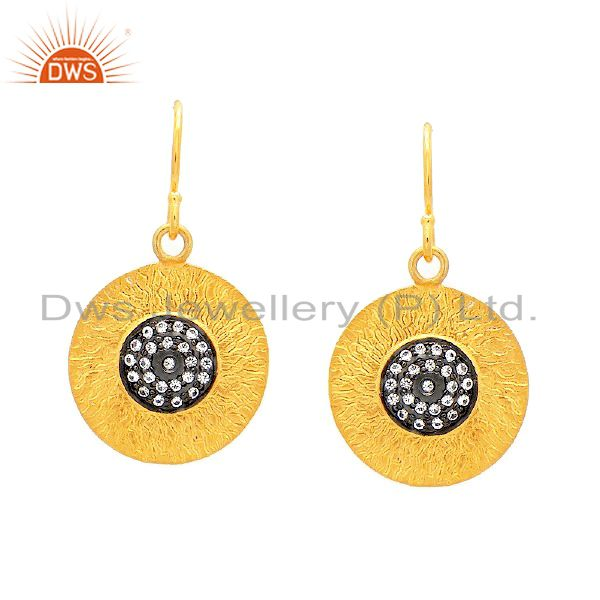 18K Gold Over Sterling Silver Pave Set Diamond Hammered Disc Dangle Earrings