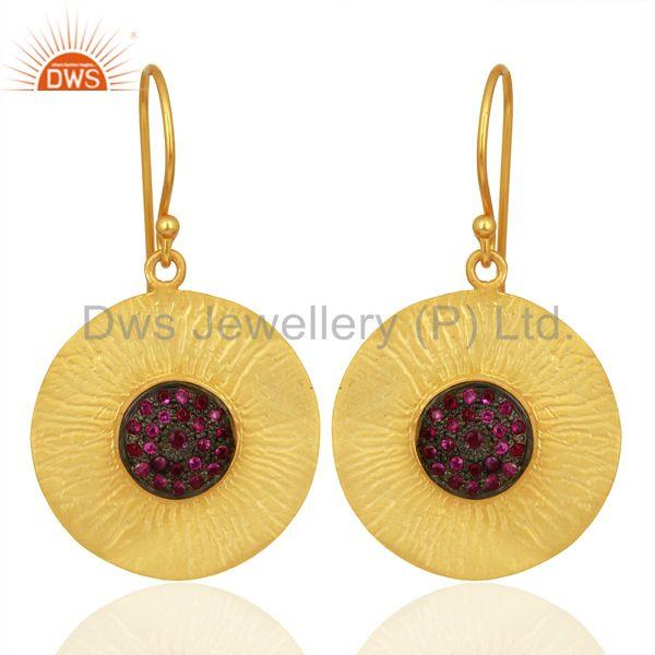 Natural Ruby Gemstone Gold Plated 925 Silver Designer Earring Supplier