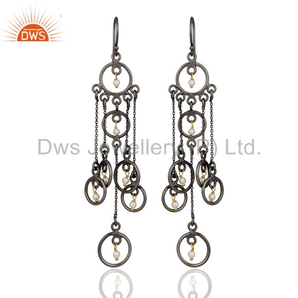Natural Pearl Chandelier Earring Sterling Silver Rhodium Plated Fashion Jewelry