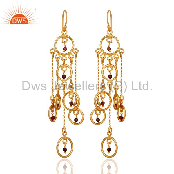 Silver Tourmaline Gemstone Chandelier Earrings High Quality Gold Plated Jewelry