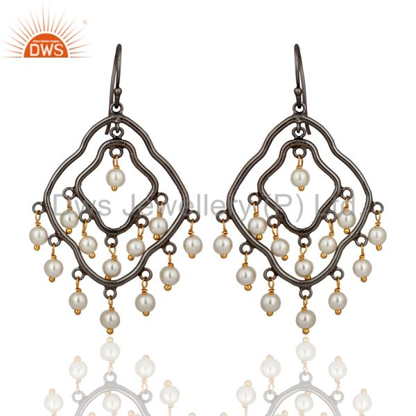 Natural White Pearl Chandelier Earrings 925 Sterling Silver Fashion Fine Jewelry