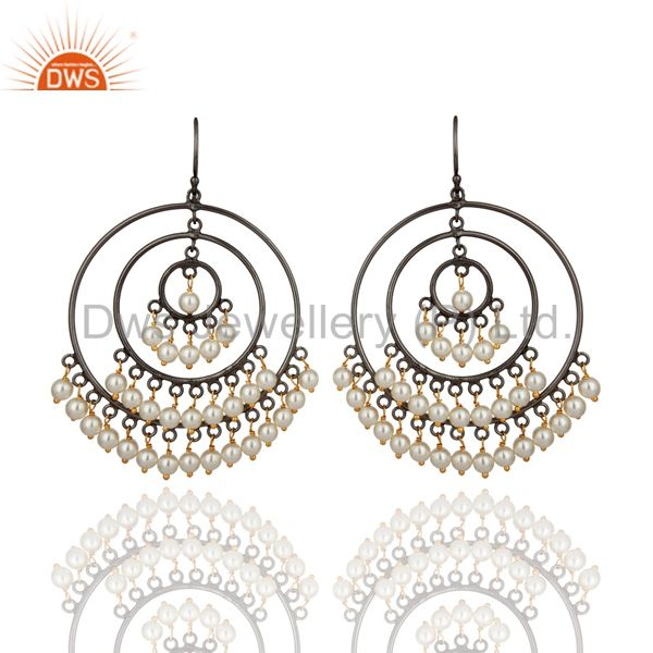 Designer 925 Sterling Silver Round Pearl Beads Circle Ladies Designer Earrings