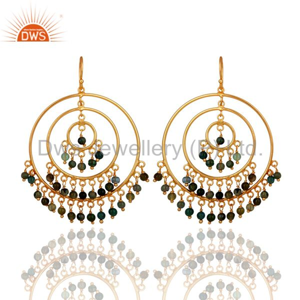 Luxury 925 Sterling Silver Gold Plated Multi Tourmaline Gemstone Circle Earrings