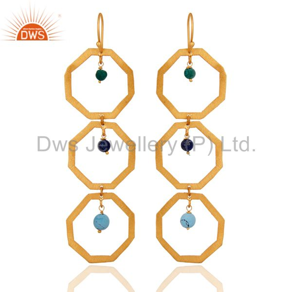 18 K Gold Over 925 Sterling Silver Malachite Hexagon Dangle Earrings Jewelry