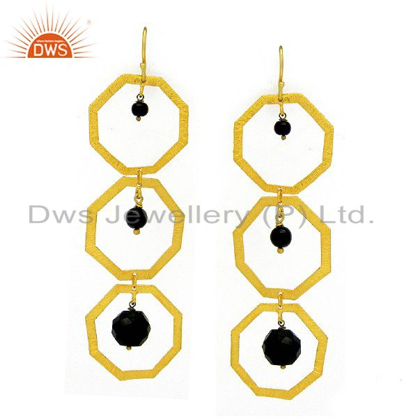 22K Yellow Gold Plated Sterling Silver Black Onyx Brushed Finish Dangle Earrings