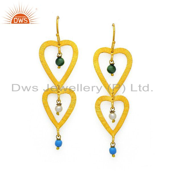 22K Yellow Gold Plated Sterling Silver Malachite And Pearl Dangle Earrings