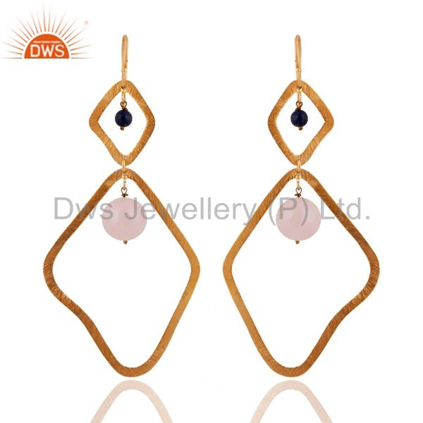 Rose Quartz & Lapis Sterling Silver Satin Finished Gold-Plated Hook Earrings