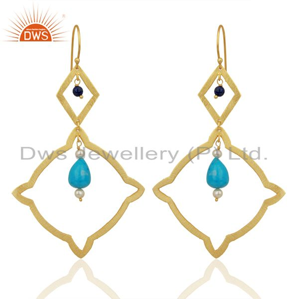 Pearl Turquoise Long Dangle Boutique 14K Gold Plated 92.5 Silver Earring