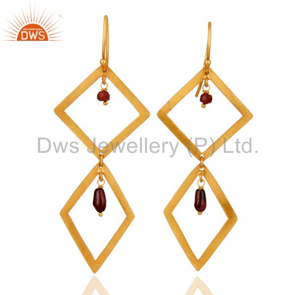 Garnet Gemstone 925 Sterling Silver With 24K Gold Plated Brush Finish Earrings