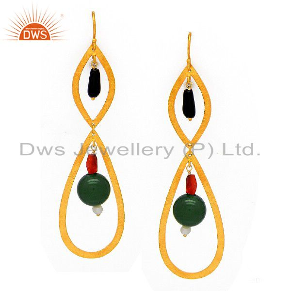 22K Yellow Gold Plated Sterling Silver Red Coral And Pearl Teardrop Earrings