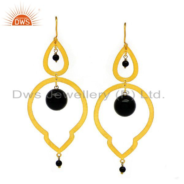 22K Yellow Gold Plated Sterling Silver Black Onyx Gemstone Teardrop Earrings